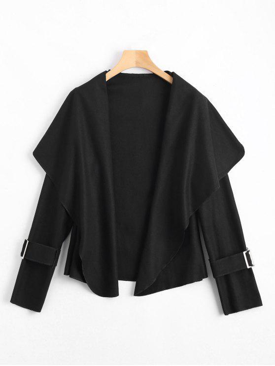 fancy Shawl Collar Belted Cuff Coat - BLACK M