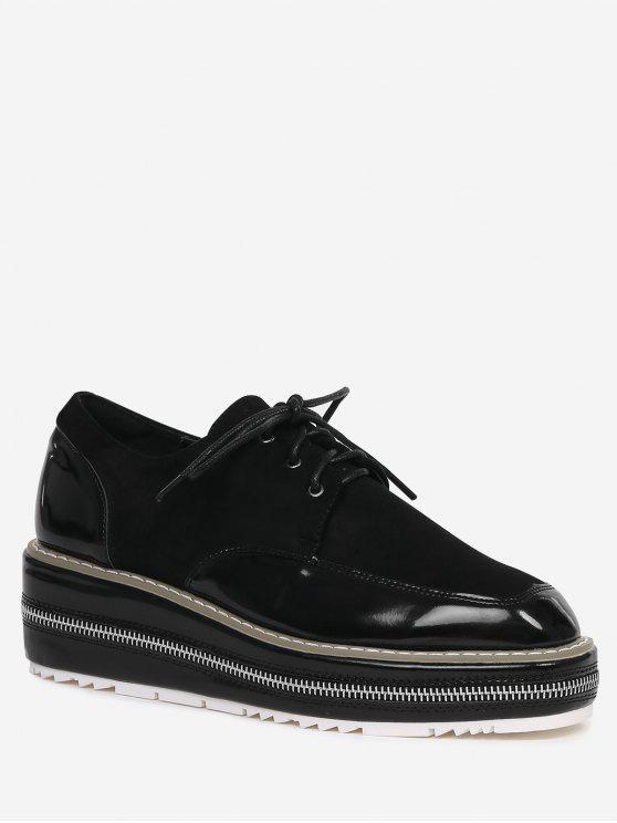Costura Zipper Zapatos Embellecimiento Wedge - Negro 37