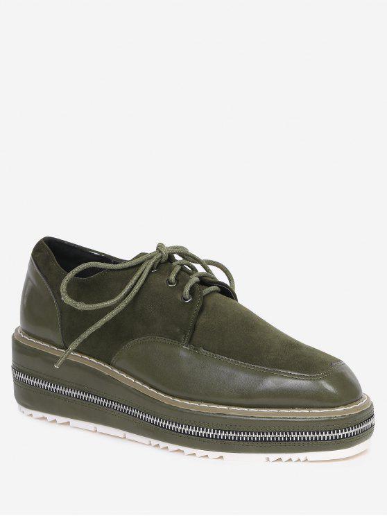 Coutures Zipper Embellishment Wedge Shoes - vert foncé 37