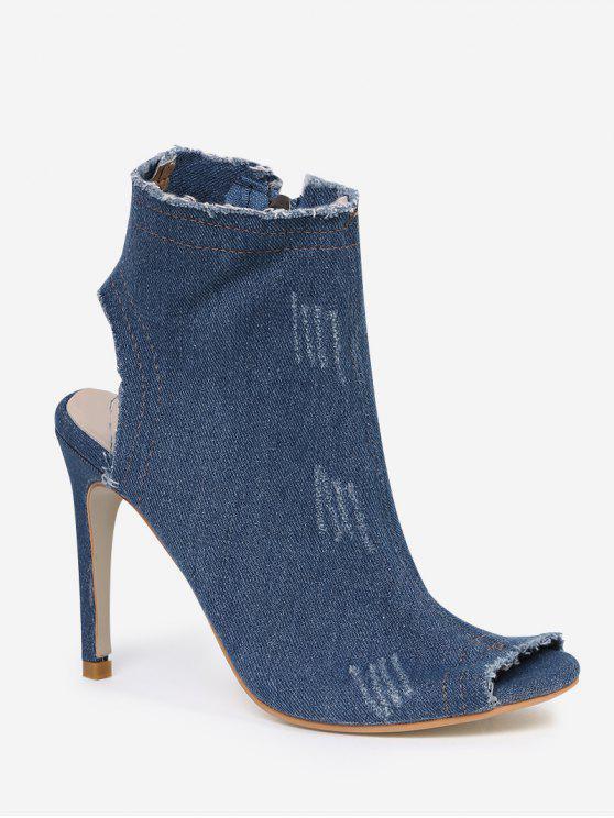 Denim Peep Toe cremallera tobillo botas - Azul Claro 37