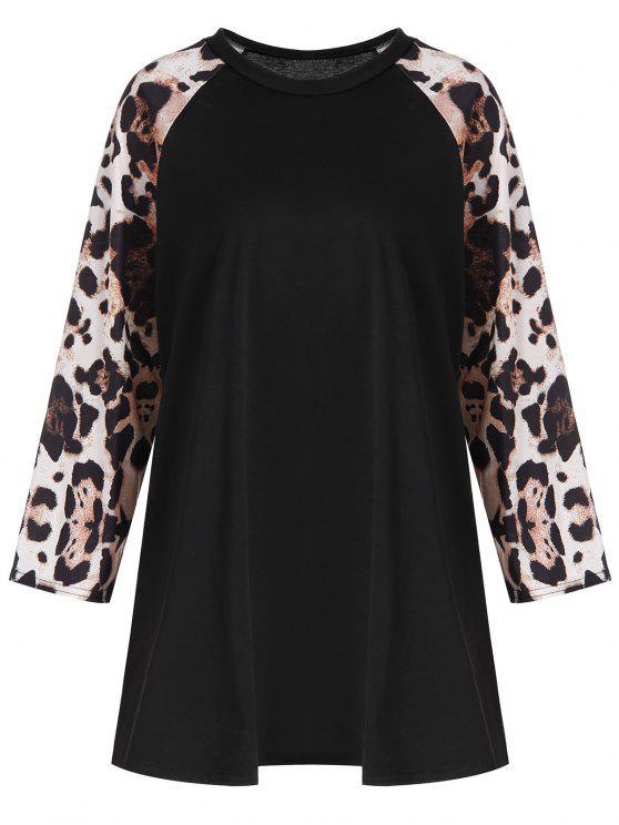T-shirt Plus Size Leopard Raglan Sleeve - Preto 3XL
