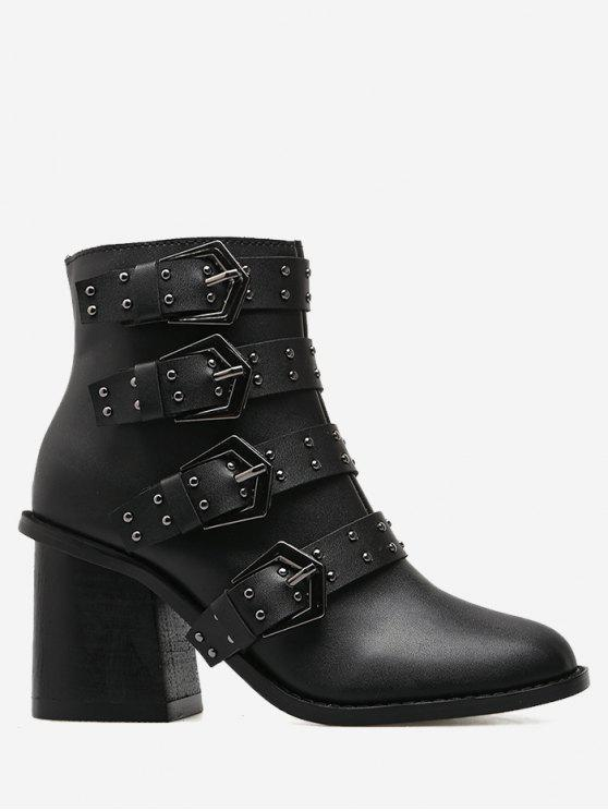 shop Block Heel Buckle Straps Ankle Boots - BLACK 37