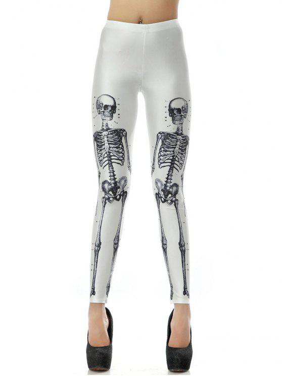 buy Halloween 3D Skull Bone Print Leggings - WHITE S