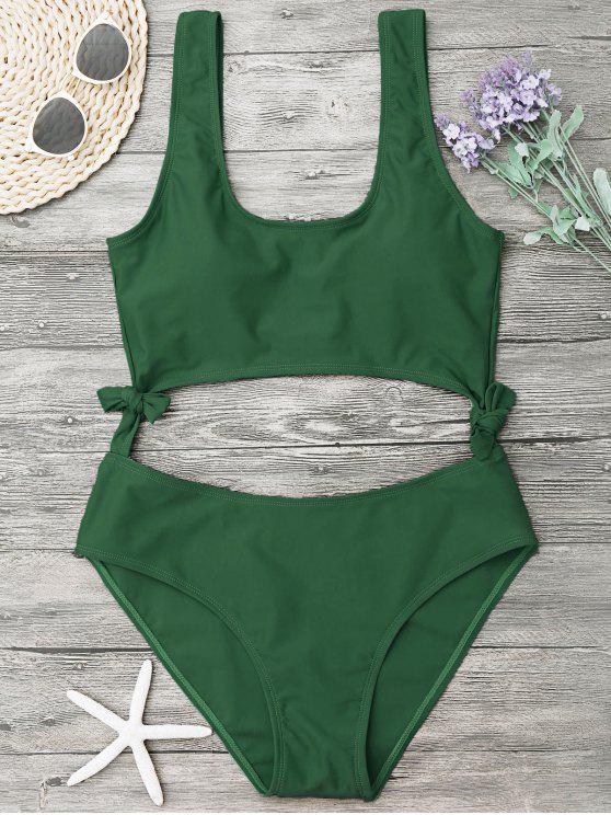 best High Leg Cut Out Bowknot Swimwear - GREEN S