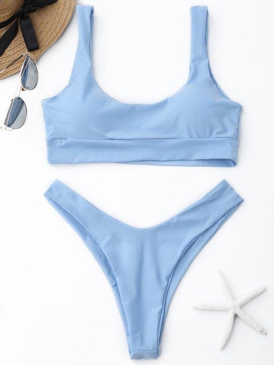 trendy ZAFUL Scooped High Cut Bikini Set - LIGHT BLUE S