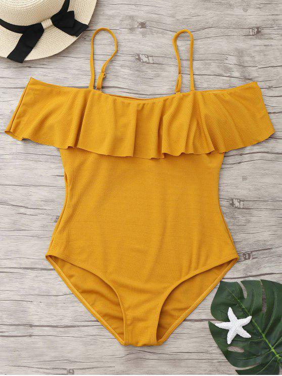 chic Ribbed Knit Flounce One Piece Swimsuit - GINGER XL