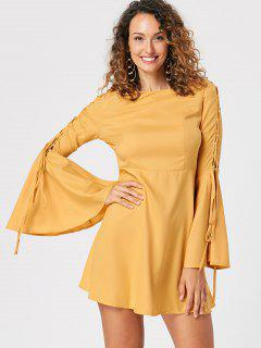 Flare Sleeve Lace Up Skater Dress - Yellow 2xl