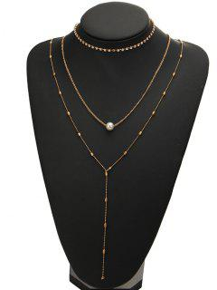 Rhinestone Faux Pearl Necklace Set - Golden