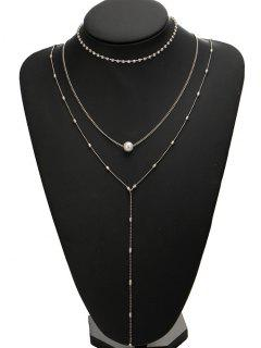 Rhinestone Faux Pearl Necklace Set - Silver
