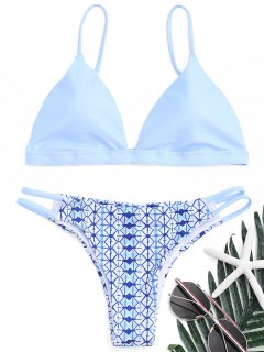 Gedruckt Scrunch Butt Bikini Set - Azurblau  L