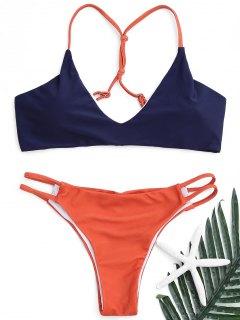 Strappy Scrunch Butt Bikini Set - Schwarzblau L