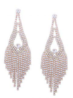 Sparkly Rhinestone Chandelier Teardrop Earrings - Golden