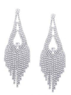 Sparkly Rhinestone Chandelier Teardrop Earrings - Silver