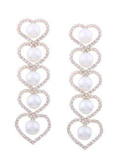 Rhinestone Faux Pearl Heart Party Earrings - Golden