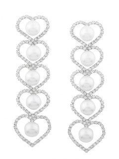 Rhinestone Faux Pearl Heart Party Earrings - Silver