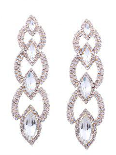 Rhinestone Faux Gem Sparkly Party Earrings - Golden