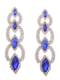 Rhinestone Faux Gem Sparkly Party Earrings - Blue