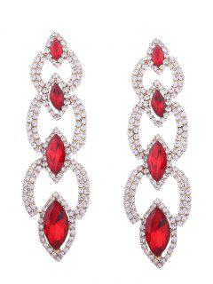Rhinestone Faux Gem Sparkly Party Earrings - Rouge