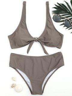 Scoop Knotted Bathing Suit - Coffee M