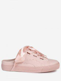 Slip On PU Leather Flat Shoes - Pink 38
