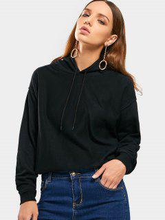 Loose Drop Shoulder Cropped Hoodie - Black M