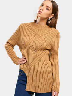 Sheer Mock Neck Asymmetrical Sweater - Khaki