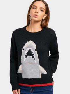 Pull Contrastant De Coude De Requin - Noir