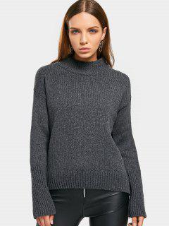 Curled Sleeve Mock Neck Sweater - Gray