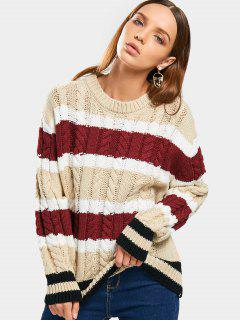 Loose Stripes Cable Knit Sweater - Stripe