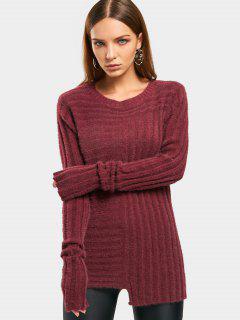 Asymmetrical Fuzzy Sweater - Wine Red
