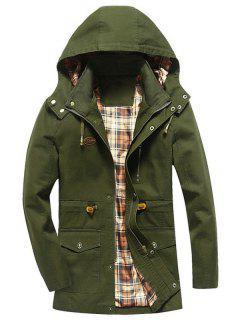 Drawstring Hooded Field Jacket - Army Green M