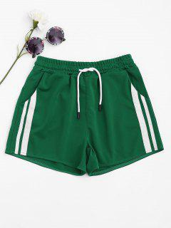 Side Striped Sports Shorts - Green S