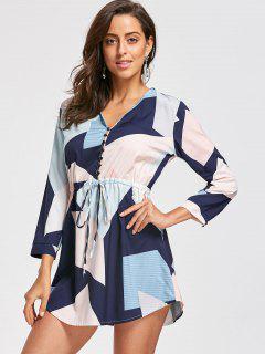 Drawstring Graphic Long Sleeve Dress - M