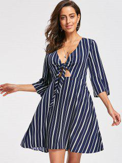 Striped Plunging Neck Skater Dress - Blue Stripe Xl
