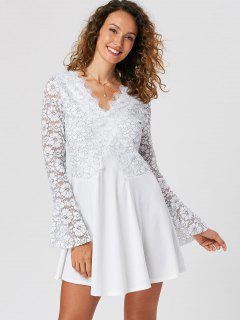 Lace Trim Flare Sleeve Mini Dress - White 2xl