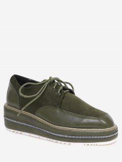Stitching Zipper Embellishment Wedge Shoes - Blackish Green 38
