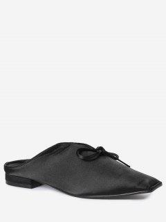 Square Toe Bowknot Satin Slippers - Black 39