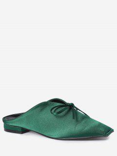Square Toe Bowknot Satin Slippers - Green 38