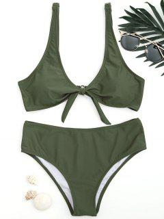 Scoop Knotted Bathing Suit - Army Green M
