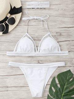 Mesh String Bikini Set Mit Choker - Weiß S