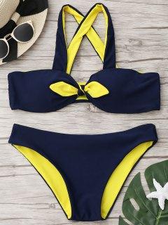 Front Knotted Bandeau Bikini Set - Purplish Blue M