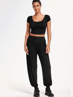 Cropped Top With Bloomer Pants Gym Suit - Black L