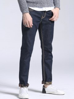 Floral Print Pocket Straight Jeans - Deep Blue 34