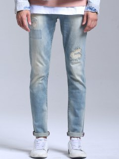 Stretch Patched Faded Jeans - Light Blue 36