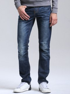 Regular Fit Casual Straight Jeans - Deep Blue 34