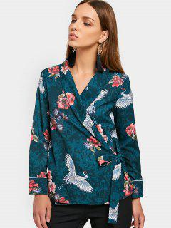 Floral Crane Print Wrap Blouse - Blackish Green S
