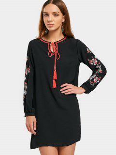 Long Sleeve Embroidered Tassels Mini Dress - Black M