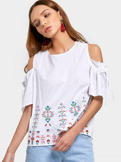 Embroidered Ruffles Cold Shoulder Blouse - White L