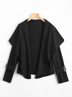 Shawl Collar Belted Cuff Coat - Black Xl