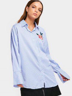 Chemise à Rayures Brodées En Boutonnière Boutonnée - Rayure L